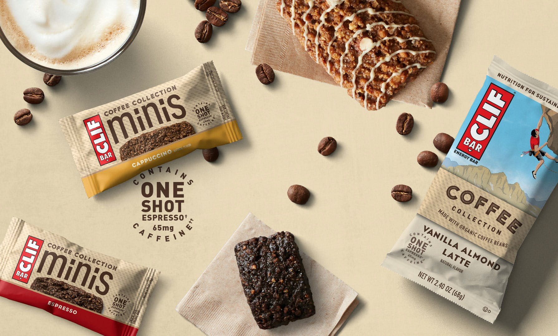 CLIF Coffee Collection with coffee beans