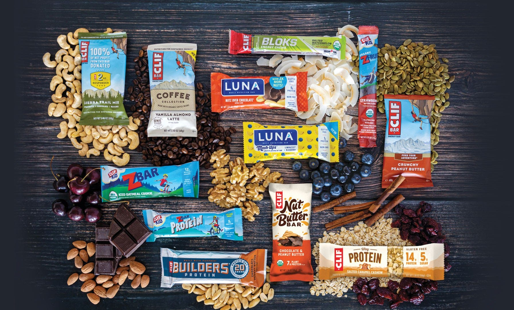 Clif product assortment with ingredients