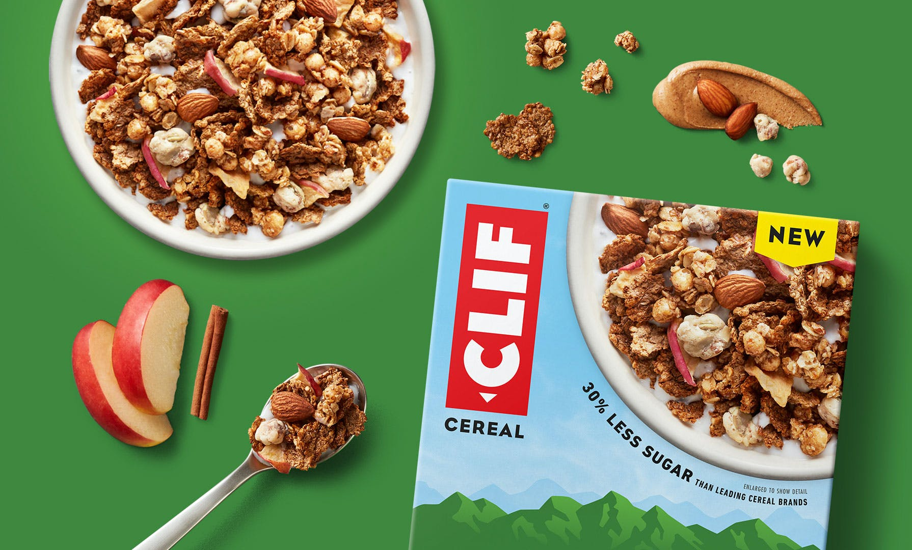 Clif cereal with spoon and ingredients