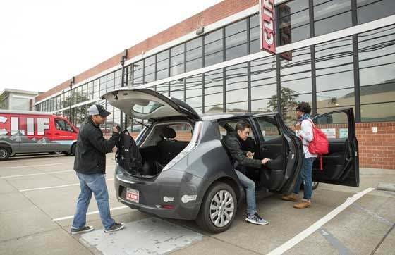 Clif employees carpooling