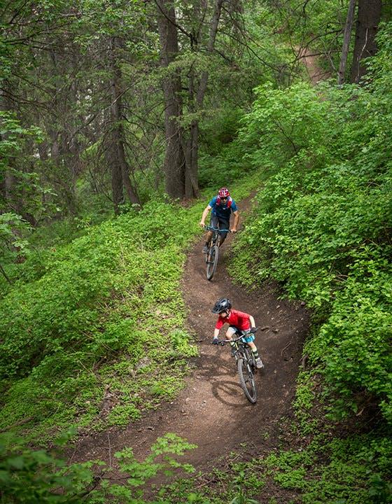 Eric Porter and Milo Porter riding bikes