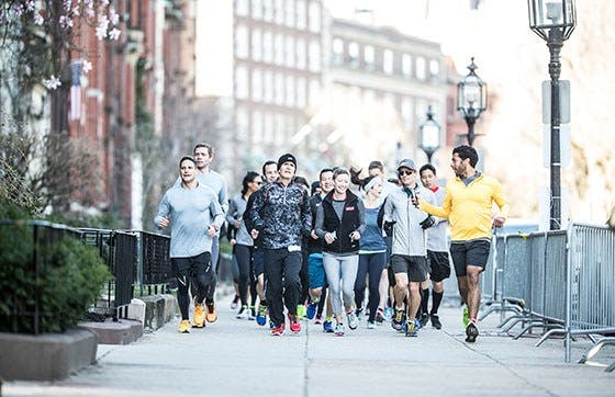 Group running sidewalk