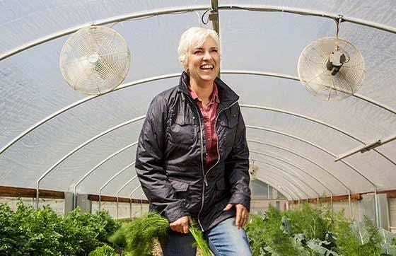 Kit Crawford in greenhouse