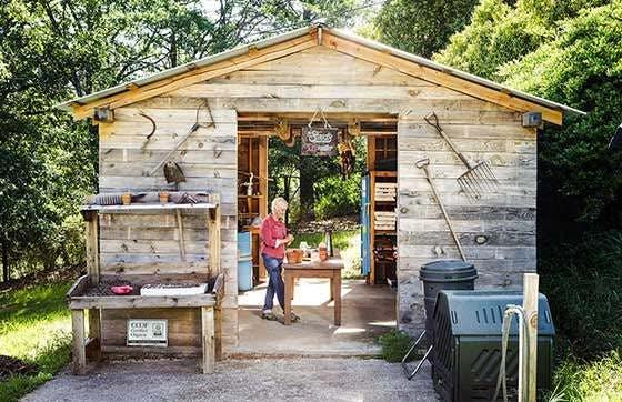 Kit Crawford in tool shed