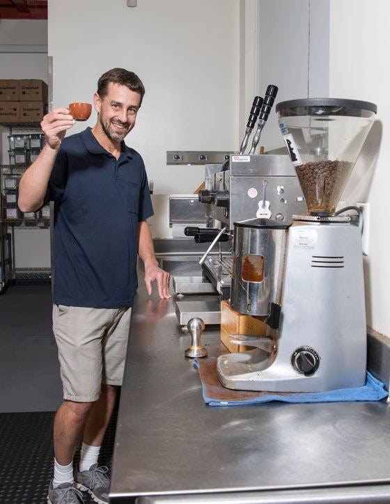 RM making coffee