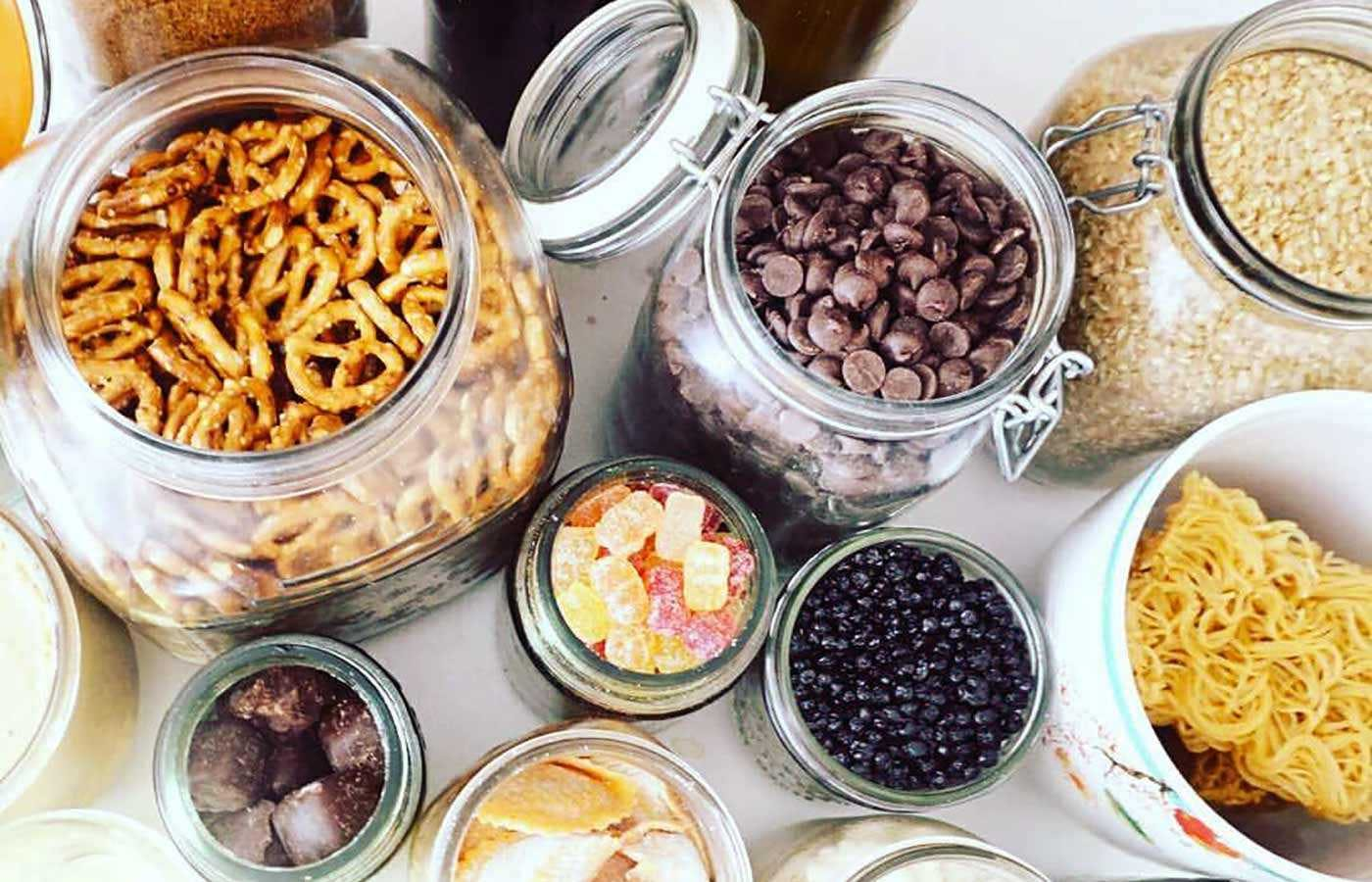 Snacks and candy in glass jars