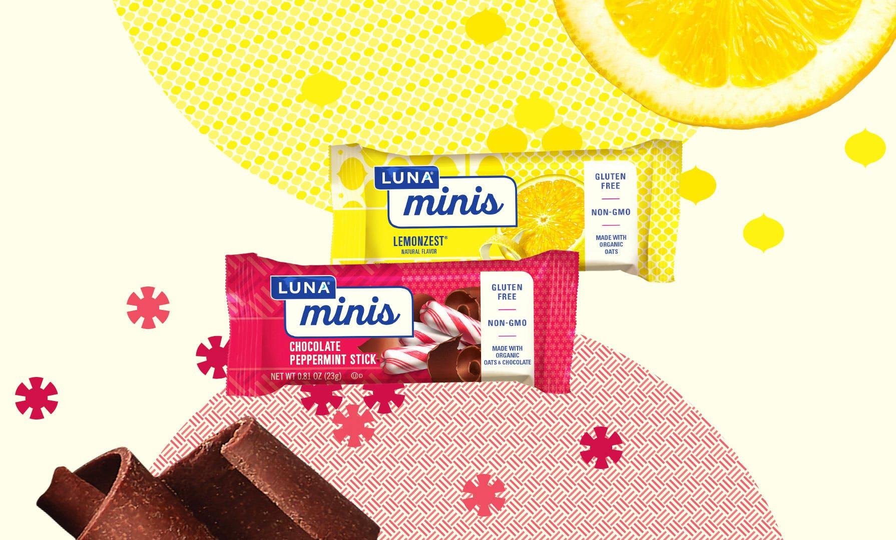 Luna minis chocolate peppermint lemonzest flavors
