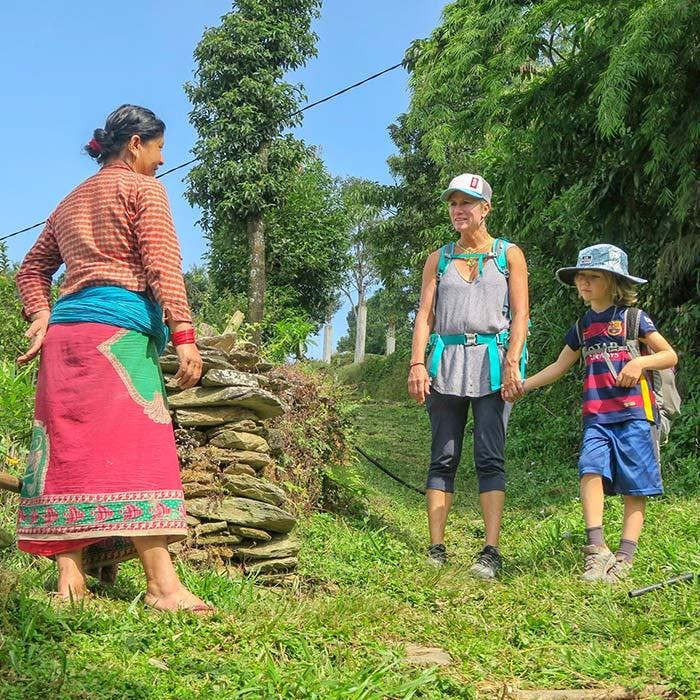 Mom and son traveling in Nepal