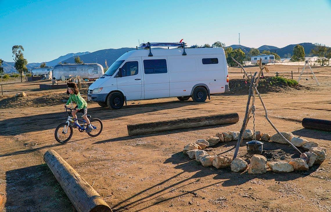 Sprinter van campsite