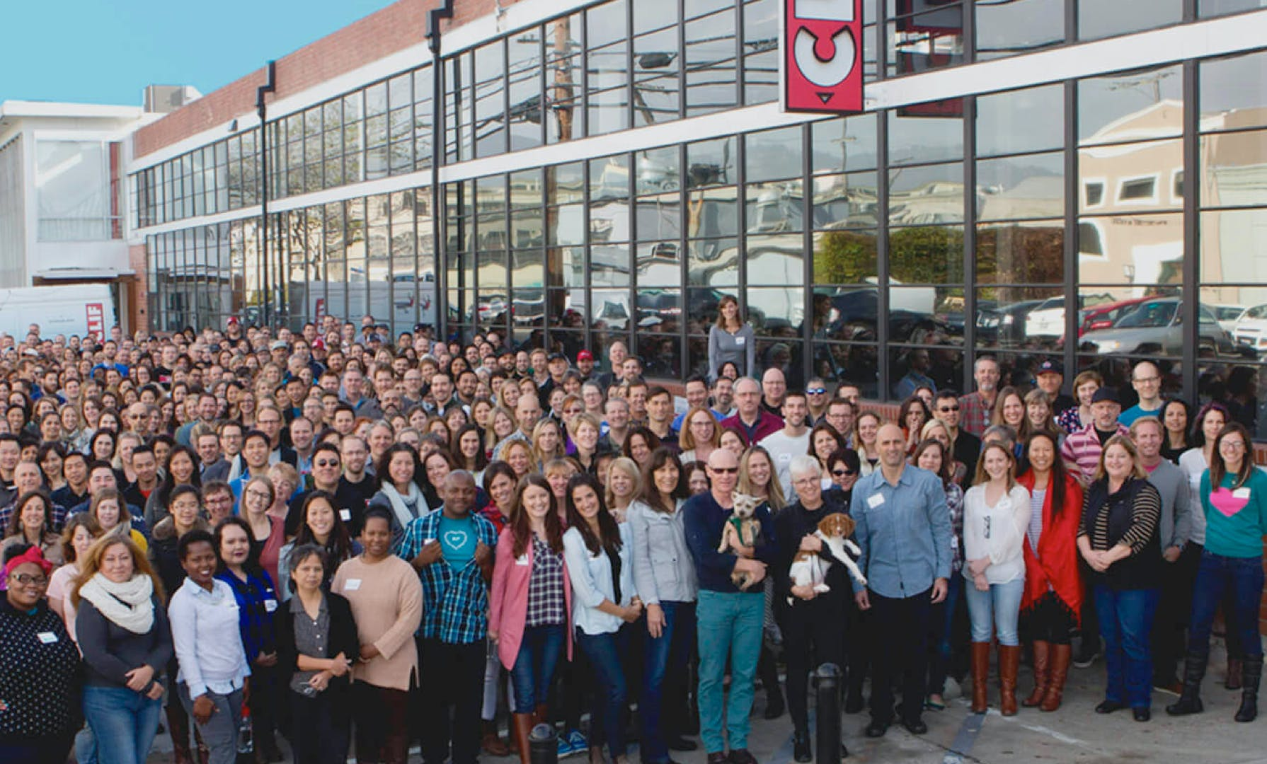 Clif Employees gathered in front of office
