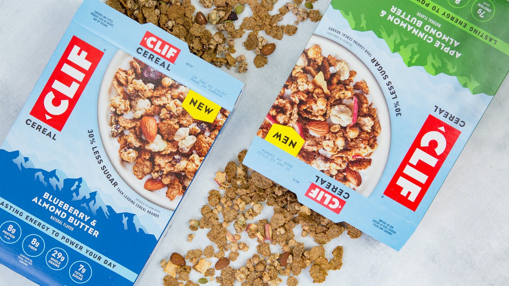 CLIF Cereal Blueberry and Almond Butter and Apple Cinnamon and Almond Butter boxes