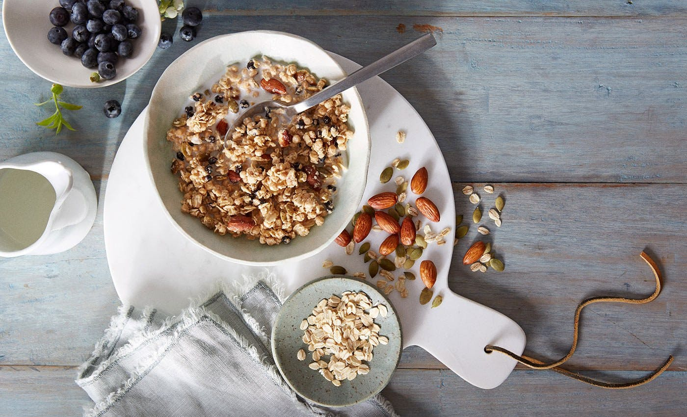 Bowl of granola with blueberries and almonds