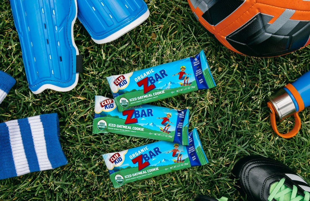 CLIF Kid Zbars with soccer equipment