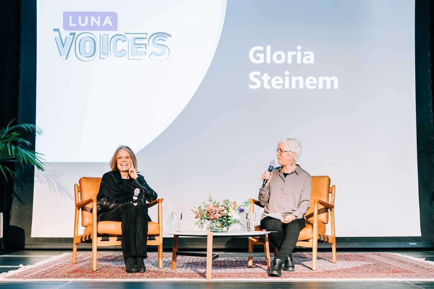 Gloria Steinem on stage